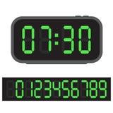Cyfrowego budzik, Błękitny cyfrowy zegar i set jarzyć się liczby, również zwrócić corel ilustracji wektora royalty ilustracja