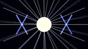 Cyfrowego Cyber miasta cząsteczek HUD tło z linia wzorem z sześcianami i błysk zaświecamy 80s futuryzmu Retro tło royalty ilustracja