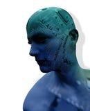 Cyfrowego Cyber obwodu głowa ilustracja wektor