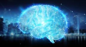 Cyfrowego 3D projekcja ludzkiego mózg 3D rendering Zdjęcia Stock