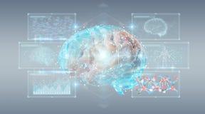 Cyfrowego 3D projekcja ludzkiego mózg 3D rendering ilustracji