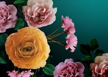 Cyfrowego floristry piękny bukiet kwiaty na prostym tle royalty ilustracja