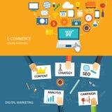 Cyfrowego handlu elektronicznego i marketingu płaski projekt ilustracji