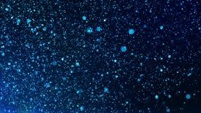 Cyfrowego koloru błękitne cząsteczki, bokeh ruchu abstrakta tło i ilustracji