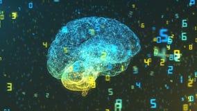 Cyfrowego komputeru mózg i unosić się liczby - Duże statystyki i dane ilustracji