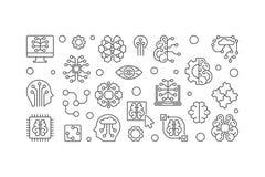 Cyfrowego Móżdżkowego wektorowego konturu horyzontalny sztandar AI ilustracja royalty ilustracja