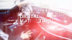 Cyfrowego marketingowy pojęcie na dwoistego ujawnienia tle zdjęcie stock