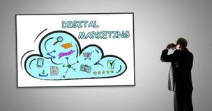 Cyfrowego marketingowy pojęcie na whiteboard Zdjęcie Stock