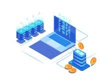 Cyfrowego marketingowy zarządzanie 3d moneta, serwery i laptopy, royalty ilustracja