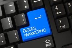 Cyfrowego Marketingowy zbliżenie Błękitna Klawiaturowa klawiatura 3d Zdjęcia Stock