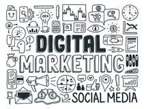 Cyfrowego marketingu doodle elementy ustawiający