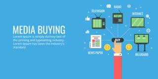 Cyfrowego medialny kupienie - autonomiczna medialna reklama Płaskiego projekta reklamowy sztandar ilustracja wektor
