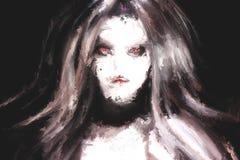 Cyfrowego obraz gothic kobieta portret ilustracja wektor