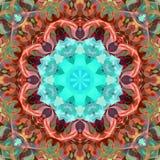 Cyfrowego obrazu mandala Abstrakcjonistyczny Kolorowy Kwiecisty tło ilustracji