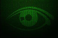 Cyfrowego oko robić zielony binarny kod Obraz Royalty Free