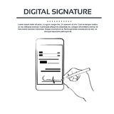 Cyfrowego podpisu telefonu komórkowego Mądrze biznesmen Zdjęcia Stock