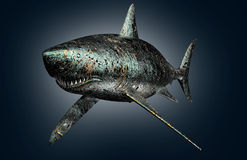Cyfrowego pojęcia elektronicznego komputeru zbawczy rekin odizolowywający Fotografia Royalty Free