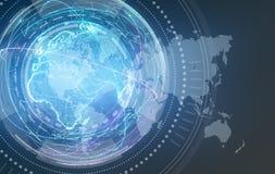 Cyfrowego projekt globalnej sieci światowa mapa Obraz Royalty Free