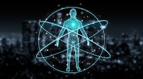 Cyfrowego promieniowania rentgenowskiego ciała ludzkiego obrazu cyfrowego tła interfejsu 3D rendering ilustracja wektor
