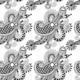 Cyfrowego rysunkowy czarny i biały ozdobny bezszwowy Obrazy Stock