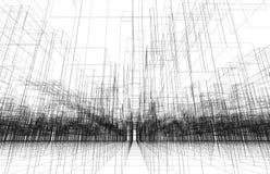Cyfrowego tło z 3d drutu ramy pejzażem miejskim royalty ilustracja