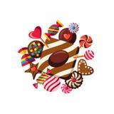 Cyfrowego wektorowy czerwony brown cukierki ilustracji