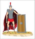 Cyfrowego wektorowy wysoki rzymski legionnaire z opancerzeniem ilustracja wektor