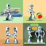 Cyfrowego wektoru srebra robota szczęśliwy set Fotografia Royalty Free
