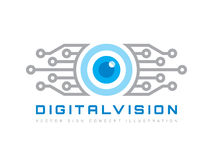 Cyfrowego wzrok - wektorowa loga szablonu pojęcia ilustracja Abstrakcjonistyczny ludzkiego oka kreatywnie znak Technologia zabezp