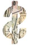 Cyfrowego złożony wizerunek banknoty w dolarowym podpisuje białego tło obrazy royalty free