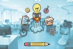 Cyfrowego złożony wizerunek elektryczna żarówki rakieta wśród różnorodnych ikon w biurze Zdjęcia Royalty Free