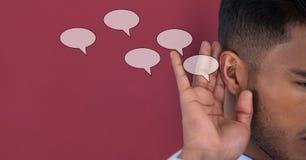 Cyfrowego złożony wizerunek mężczyzna słuchająca mowa zdjęcie stock