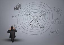 Cyfrowego złożony wizerunek sfrustowany biznesmen i biznesowe grafika Fotografia Stock