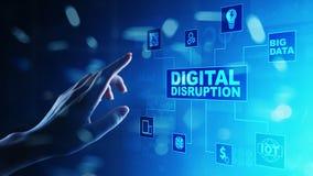 Cyfrowego zakłócenie Destrukcyjni biznesowi pomysły internet rzeczy, sieć, mądrze miasto i maszyny, duzi dane, AI zdjęcie stock