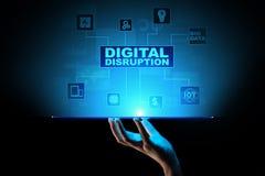 Cyfrowego zakłócenie Destrukcyjni biznesowi pomysły IOT, sieć, mądrze miasto, duży dane, chmura, analityka, skala IT, AI ilustracji