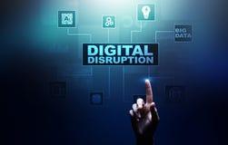 Cyfrowego zakłócenie Destrukcyjni biznesowi pomysły IOT, sieć, mądrze miasto i maszyny, duzi dane, Sztuczna inteligencja obraz stock