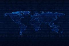 Cyfrowej światowa mapa nad binarnego kodu tłem Fotografia Royalty Free