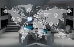 Cyfrowej światowa mapa unosi się w biurowym 3D renderingu Obrazy Royalty Free