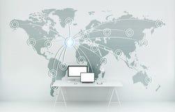 Cyfrowej światowa mapa unosi się w biurowym 3D renderingu Zdjęcie Stock