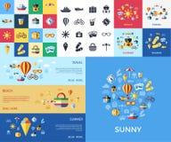 Cyfrowej błękitnej czerwieni plaży wektorowa podróż ilustracja wektor