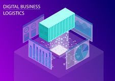 Cyfrowej biznesowej logistyki pojęcie 3d isometric wektorowa ilustracja z spławowym kontenerem dla globalnego handlu i analyti ilustracji