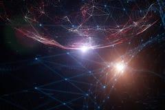 Cyfrowej cyberprzestrzeni sieć z liczbami Fotografia Stock