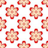 Cyfrowej czerwień kwitnie prostego bezszwowego wzór ilustracja wektor