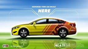 Cyfrowej czerwieni i koloru żółtego sedanu wektorowy sportowy samochód ilustracja wektor