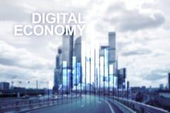 cyfrowej gospodarka, pieniężny technologii pojęcie na zamazanym tle Fotografia Royalty Free