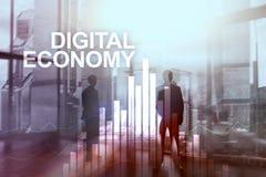 cyfrowej gospodarka, pieniężny technologii pojęcie na zamazanym tle Obraz Stock