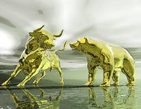 Cyfrowej ilustracja byk i niedźwiedź ilustracji