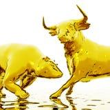 Cyfrowej ilustracja byk i niedźwiedź ilustracja wektor