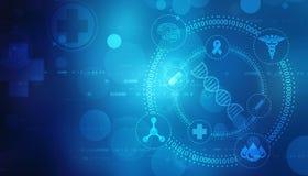 Cyfrowej ilustracja DNA struktura, abstrakcjonistyczny medyczny tło ilustracja wektor