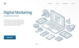 Cyfrowej kampania marketingowa, seo optymalizacja nowożytna isometric kreskowa ilustracja Biznesowy nakreślenie rysująca ikona Si ilustracja wektor
